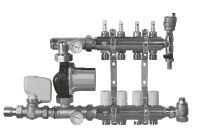 Rozdělovač s průtokoměry, čerpadlem a ekvitermní regulací 3 okruhy TOP 559A