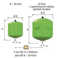 Reflex expanzní nádoba Refix DD 33 / 10 bar zelená