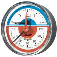termomanometr 0-6 bar zadní 80mm, 0-120C, 1/4