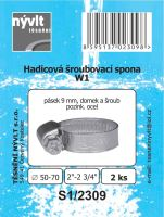 "SADA - 2 ks hadicové šroub. spony W1 - Ø 50 - 70 mm 2"" - S1/2309"