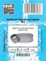 "SADA - 2 ks hadicové šroub. spony W1 - Ø 12 - 22 mm 1/2"" - S1/2303"