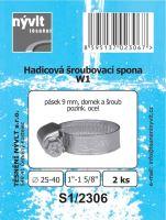 "SADA - 2 ks hadicové šroub. spony W1 - Ø 25 - 40 mm 1"" - S1/2306"