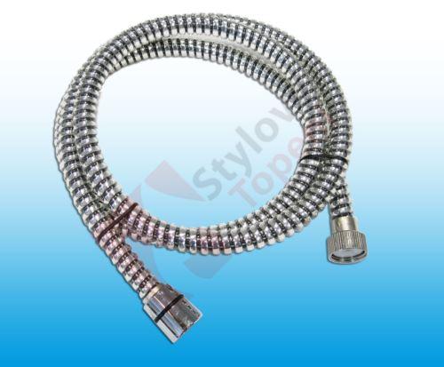 Komfortní sprchová hadice s reliéfem vystužená kovovou páskou - SPIRAL 150 cm chrom + černá matice/kónus - H/1138